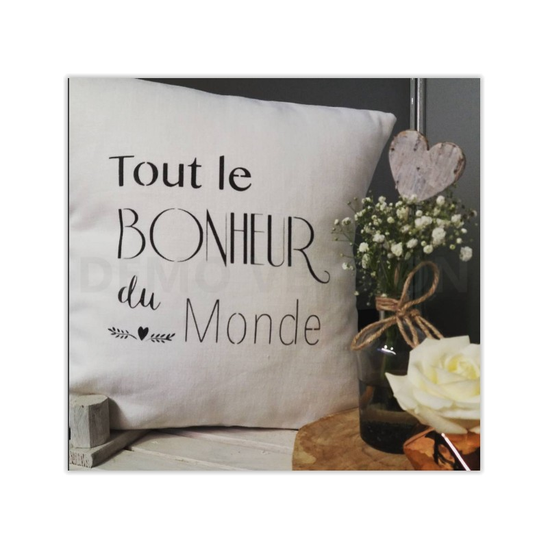 coussin en lin tout le bonheur du monde cr ation. Black Bedroom Furniture Sets. Home Design Ideas
