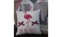 Coussin d'Alliances en Lin Flamant Rose - Création Francaise Lucy Jeanne Collection